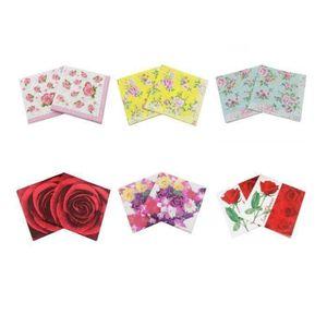 4 X Single Serviettes en papier Fleurs Romantique Coeur Roses Pour Découpage Artisanat 3
