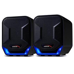 ENCEINTES ORDINATEUR Haut-parleurs d'ordinateur USB 6W Blue&Black Audio