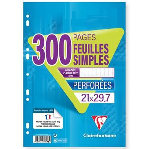 BLOC NOTE CLAIREFONTAINE - Feuilles simples blanches - Perfo