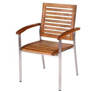 Ensemble table et chaise de jardin Lot de 4 fauteuils de jardin en teck et acier NAVA