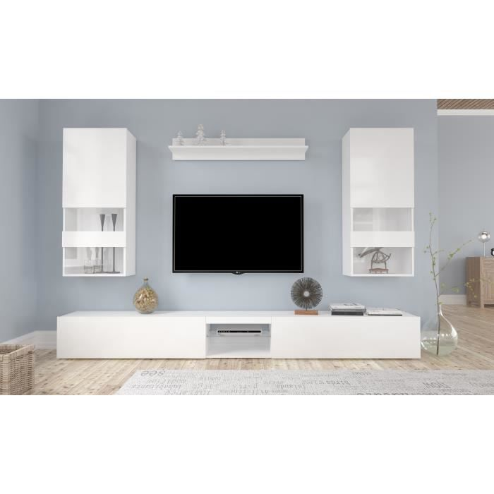 neverland ensemble s jour contemporain laqu blanc l 268 cm achat vente meuble tv. Black Bedroom Furniture Sets. Home Design Ideas