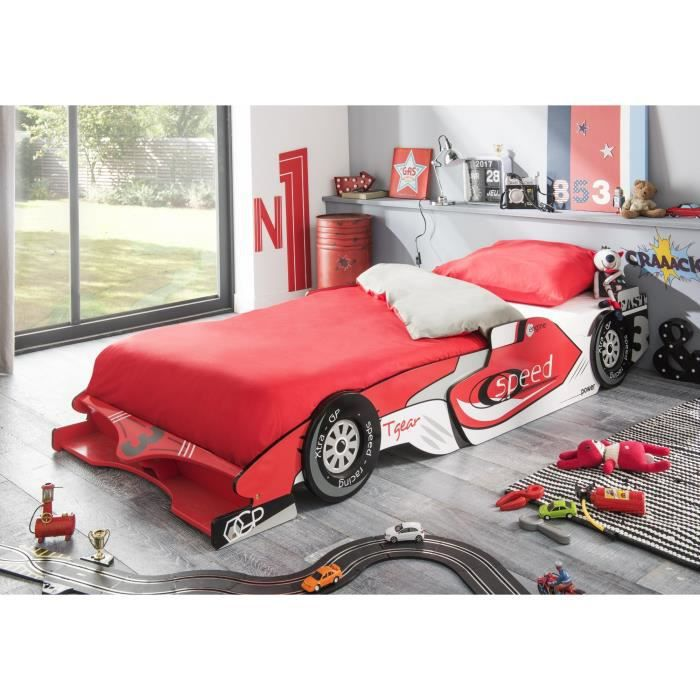 castellet lit voiture extensible enfant rouge et blanc verni mat l 90 x l 190 200 cm achat. Black Bedroom Furniture Sets. Home Design Ideas