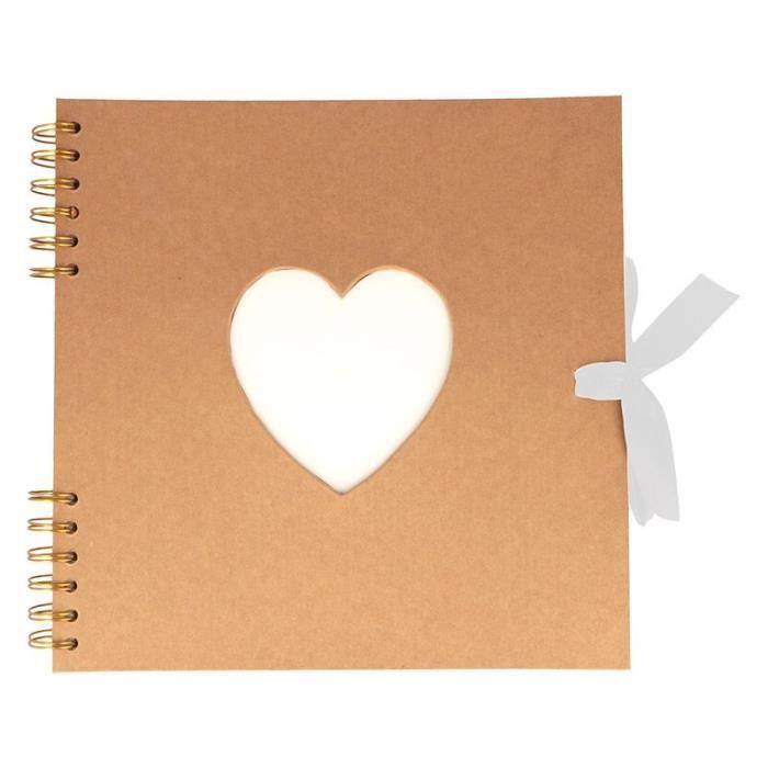 Album kraft couverture coeur 40 pages blanches 25 x 25 cm