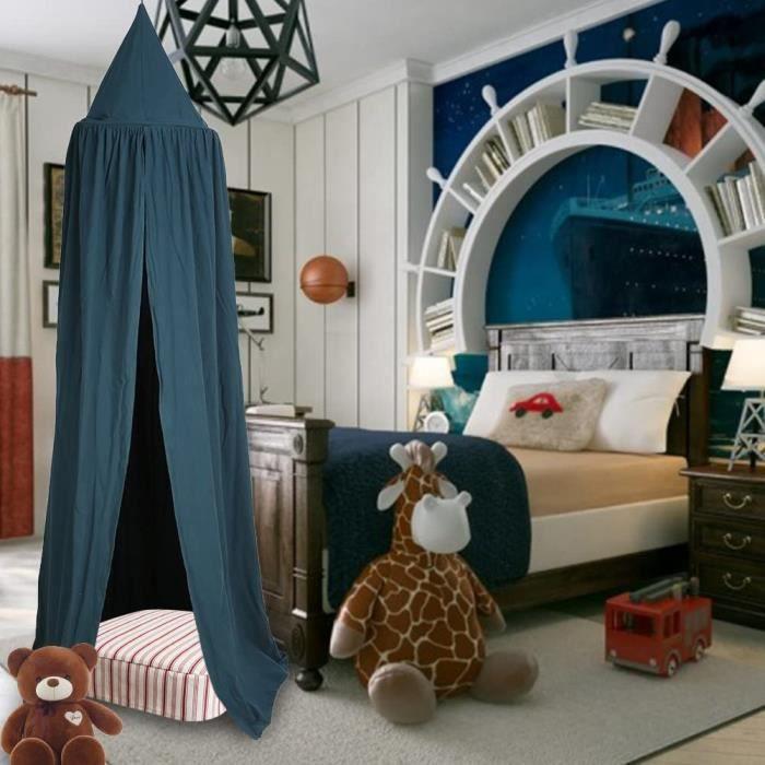 Canopée de lit en dôme pour enfant, motif princesse Facile à suspendre Pièce en coton Rideaux tente de jeu Hauteur de 2,4 m avec déc