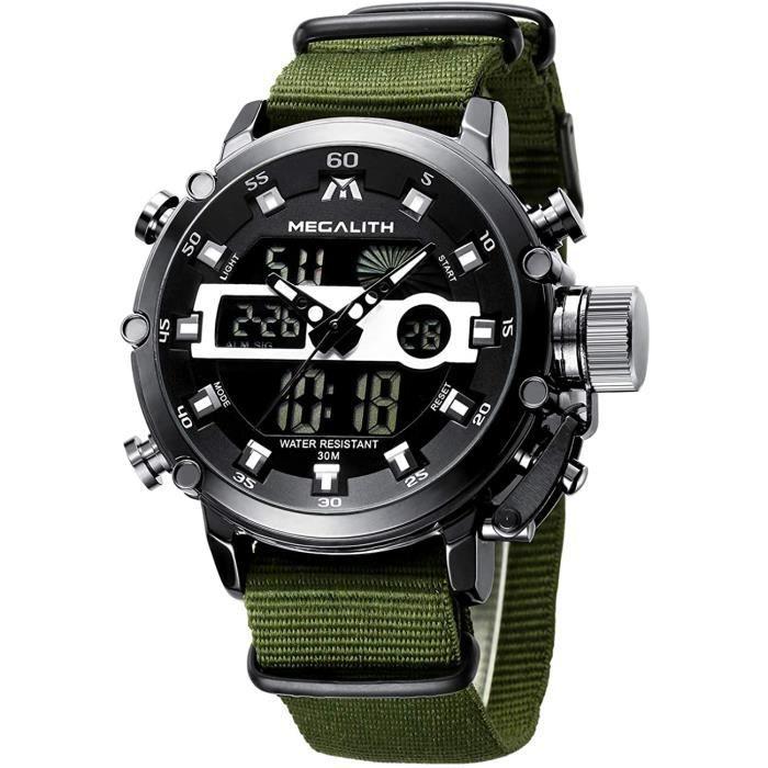 MEGALITH Montre Homme Montre Militaire Sport pour Homme Etanche Chronographe Alarme Date LED Digitale Analogique Montres Bracelet de