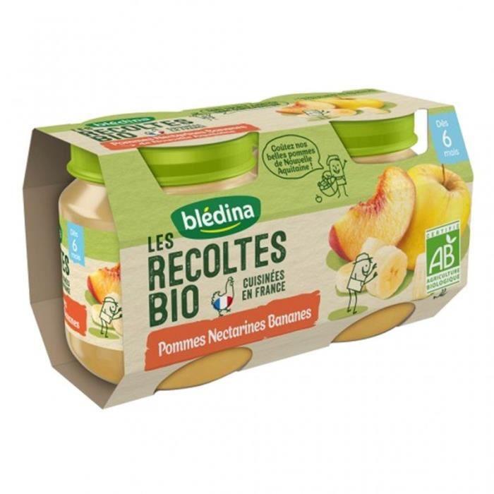 Blédina Les Récoltes Bio Pommes Nectarines Bananes (dès 6 mois) par 2 pots de 130g (lot de 8)