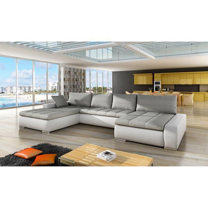 Canapé d'angle droit panoramique et convertible en tissu et simili gris blanc