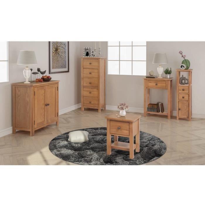 Meuble Salon En Bois : Design Scandinave - 5 Pièces - Table d'Appoint&Meuble d'Angle&Table Console&Buffet&Commode - Chêne Massif