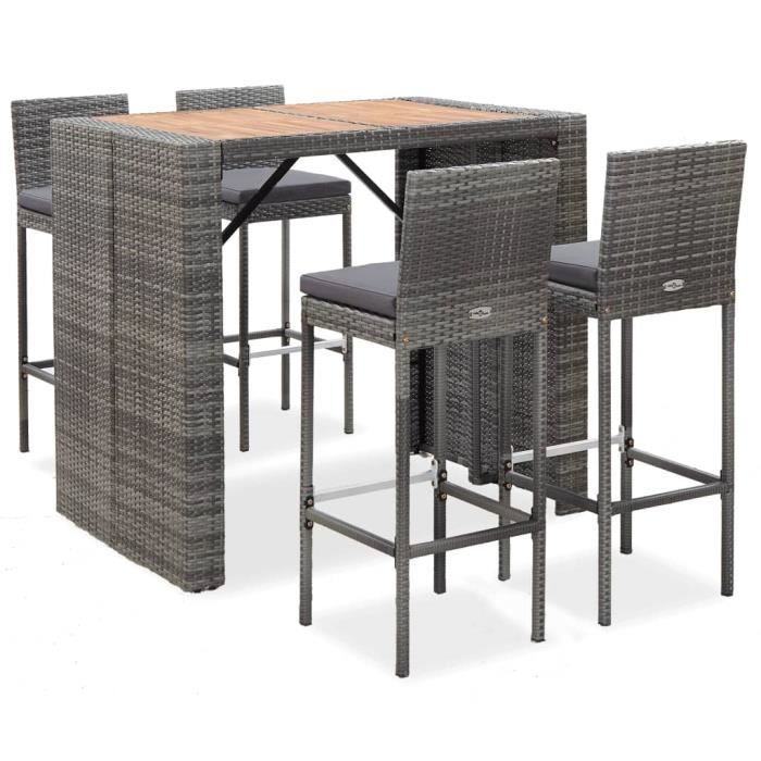 Ensemble de bar 5 pcs Table haute cuisine 2 à 4 personnes style contemporain Résine tressée et bois d'acacia Gris