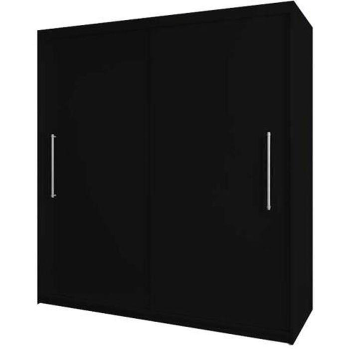 Armoire de chambre avec 2 portes coulissantes - tringle et étagères - Style contemporain - Noir - L 204cm - NICO