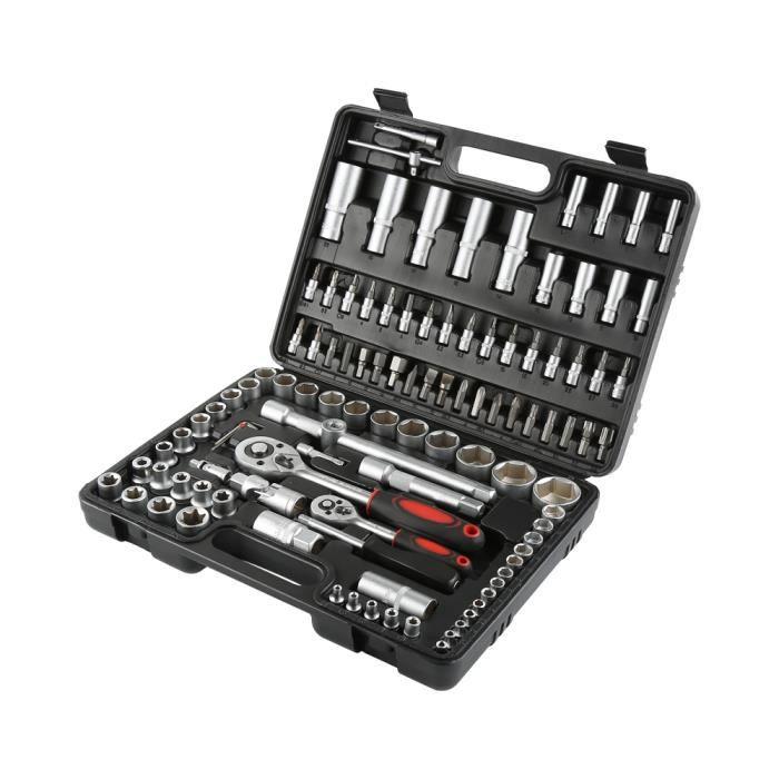JEOBEST® Coffret à douilles, outils à cliquet 108 pcs/set, chrome vanadium