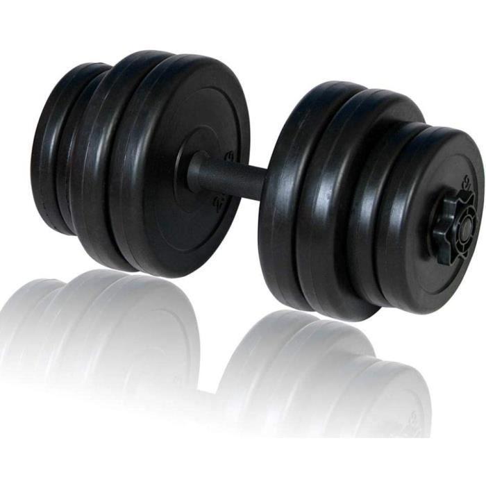 BARRE HALTERE POIDS vidaXL Halt&egravere 15 kg Rev&ecirctement Plastique Barre et Poids Musculation Exercice90
