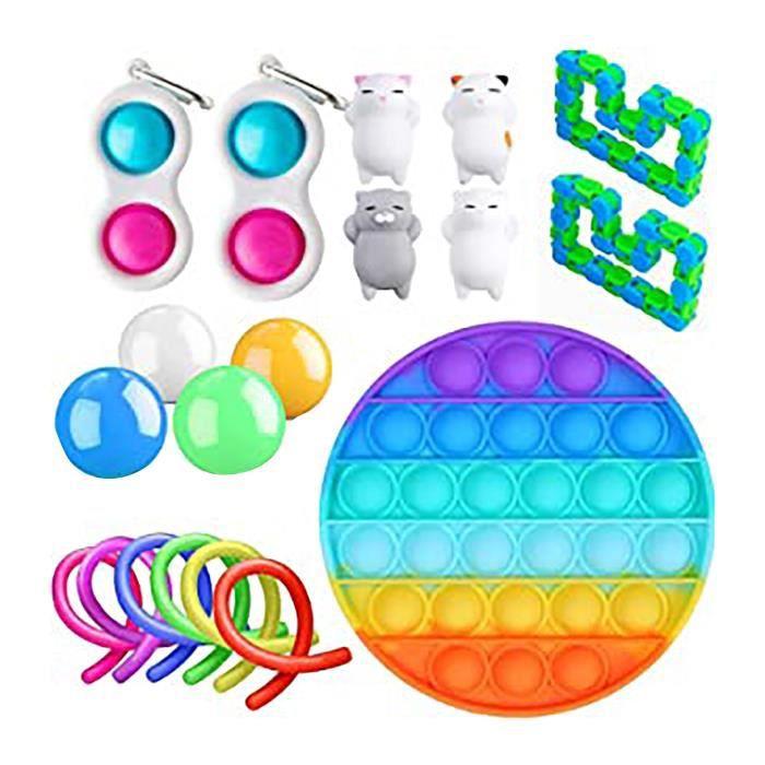 couleur 9 Ensemble de jouets anti-stress en marbre, 50 Sortes, cadeau pour enfants et adultes, Sensoriel anti