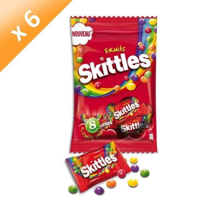 [LOT DE 6] SKITTLES Bonbons tendres dragéifiés, goûts de fruits - 208 g