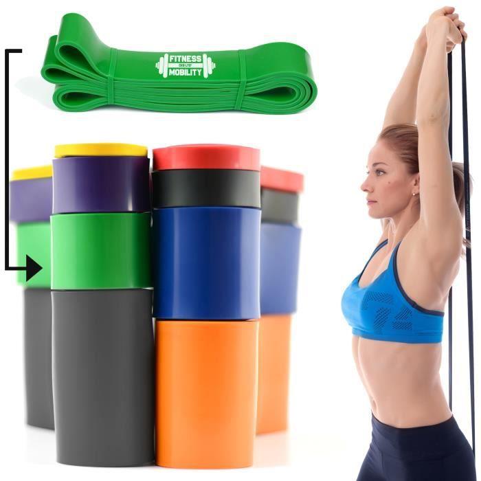 CKB LTD® 1x Fitness 50-120lb Resistance 4.5 cm VERT Bande De Résistance Bande Elastique Pour Yoga Pilate Musculation Gymnastique