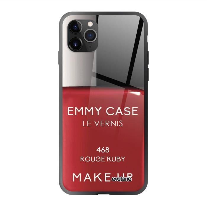 Coque en verre trempé Apple iPhone 11 Pro Vernis Rouge Ecriture Tendance et Design Evetane