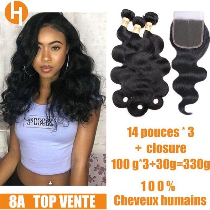 3 tissage bresilien avec closure ondulé 8A 14pouces cheveux naturels humain virgin hair body wave Hairich