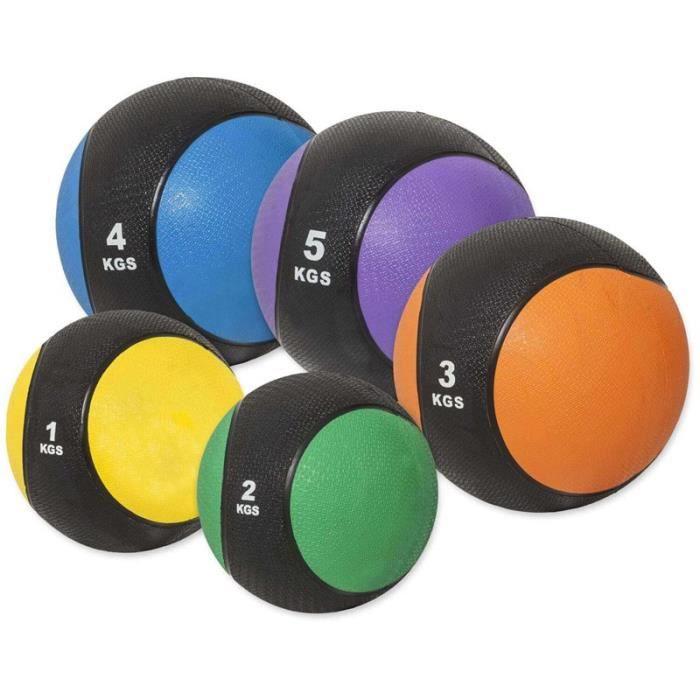 Medecine ball poids au choix 1 Kg Couleur Multiples