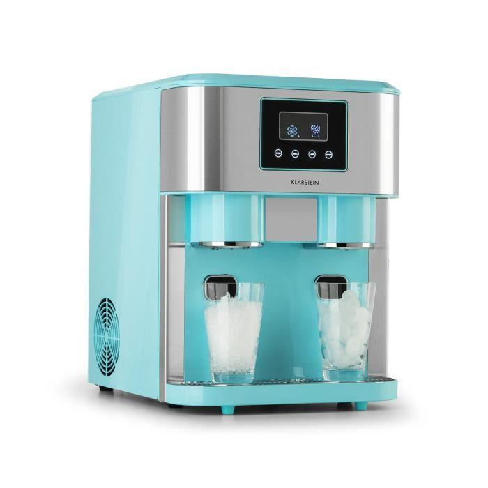 Machine à glaçons - Klarstein Eiszeit Crush - 15 > 18 kg-24h, réservoir 1,8L, 2 tailles de glace pilée - Bleu