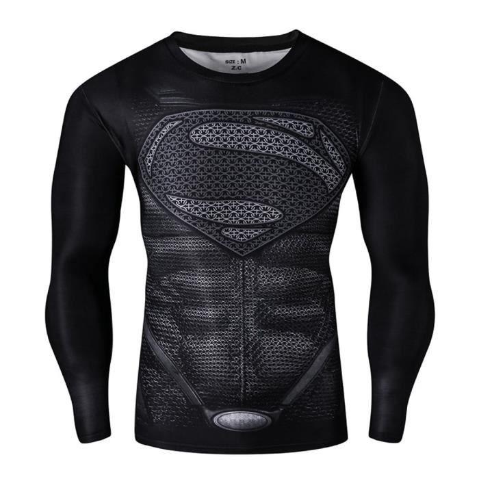 Superman Style B logo de héros compression manche long chemise haut serré pour le sport en plein air de
