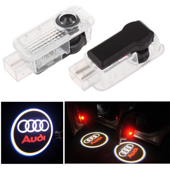 Porte 2pcs LED voiture bienvenue courtoisie de lumière LED voiture projecteur laser Logo Pour Audi Logo Puissanc