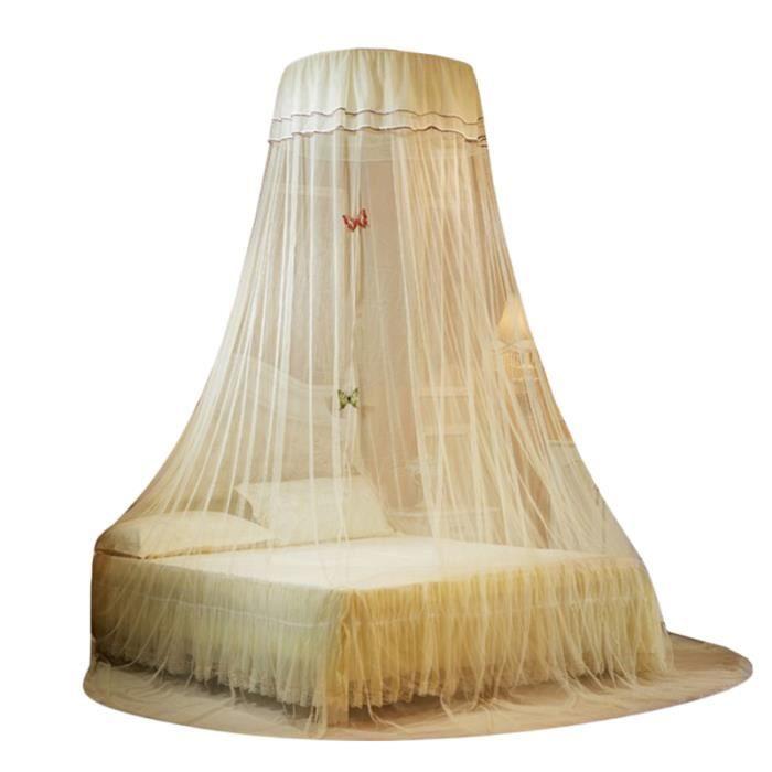 1 pc Plafond Dentelle Lit Net Canopée Dôme Classique Suspendu Moustiquaire pour Chambre (Beige) CIEL DE LIT