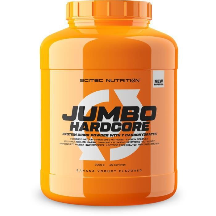 Jumbo Hardcore 3060g Brownie Praliné Scitec Proteine Gainer Musculation