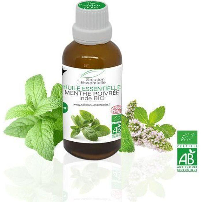Huile Essentielle BIO de Menthe Poivrée 50 ml. Huile Chémotypée ABLabel, Ecocert Bio 100 % Pure et Naturelle ENTREPRISE FRANCAISE