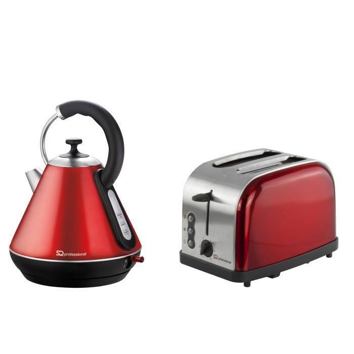Bouilloire électrique et grille-pain, acier inoxydable - Rouge rubis