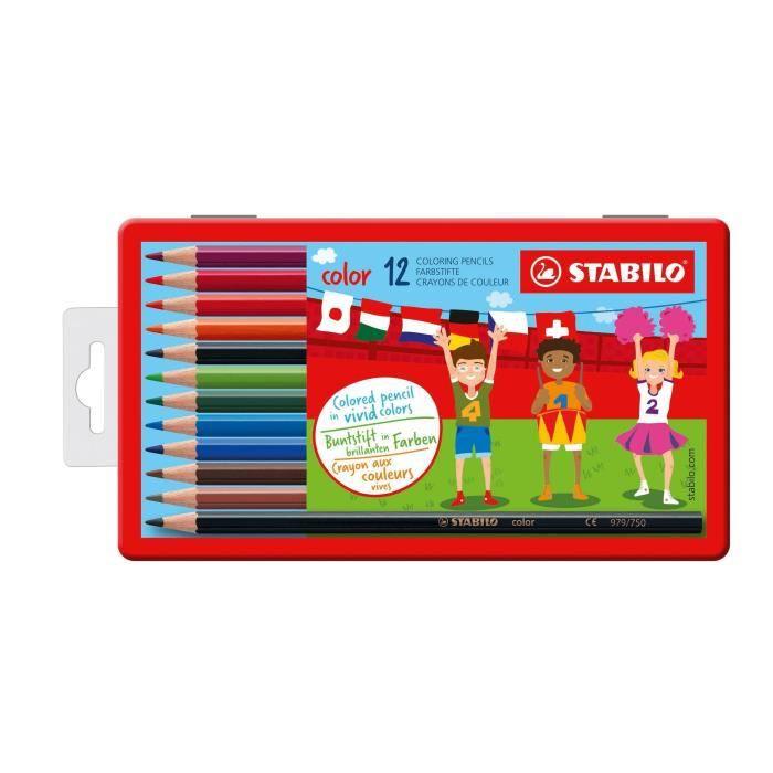 STABILO - Boîte métal de 12 crayons de couleur Color