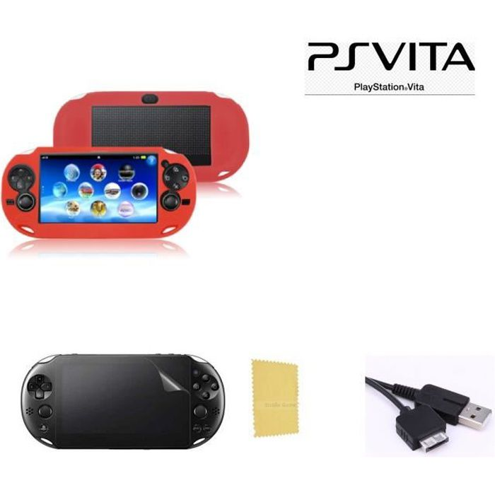 Pack 3 en 1 Sony PS Vita 1000 : Housse silicone rouge - Câble chargeur synchronisation USB - Film Protection écran