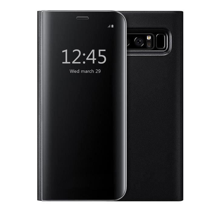 Coque pour Samsung Galaxy Note 8, Clear View Flip Coque Cover Mince Translucide Miroir Housse - noir