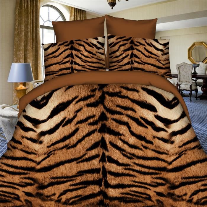 l m tigre motif parure de couette parure de lit 1 housse de couette 220x240 cm 2 taie d. Black Bedroom Furniture Sets. Home Design Ideas