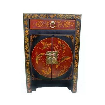 table de chevet chinoise rouge et noire achat vente commode de chambre table de chevet. Black Bedroom Furniture Sets. Home Design Ideas