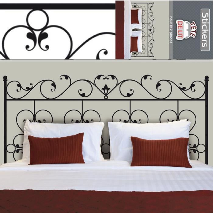 autocollant mural t te de lit fer forge achat vente t te de lit autocollant mural t te de l. Black Bedroom Furniture Sets. Home Design Ideas