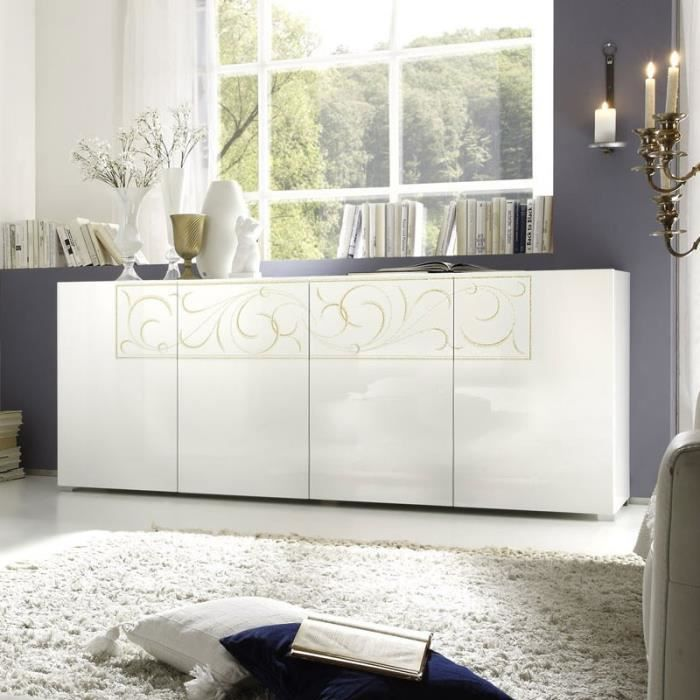 buffet bahut blanc laqu motifs arabesques serafy blanc. Black Bedroom Furniture Sets. Home Design Ideas