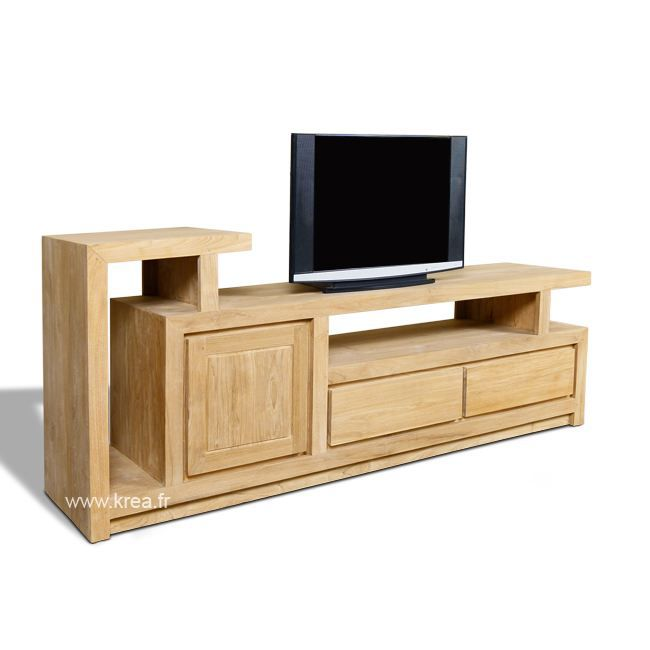 meuble tv en teck 1 portes 2 tiroirs 180 cm achat vente meuble tv meuble tv en teck 1. Black Bedroom Furniture Sets. Home Design Ideas
