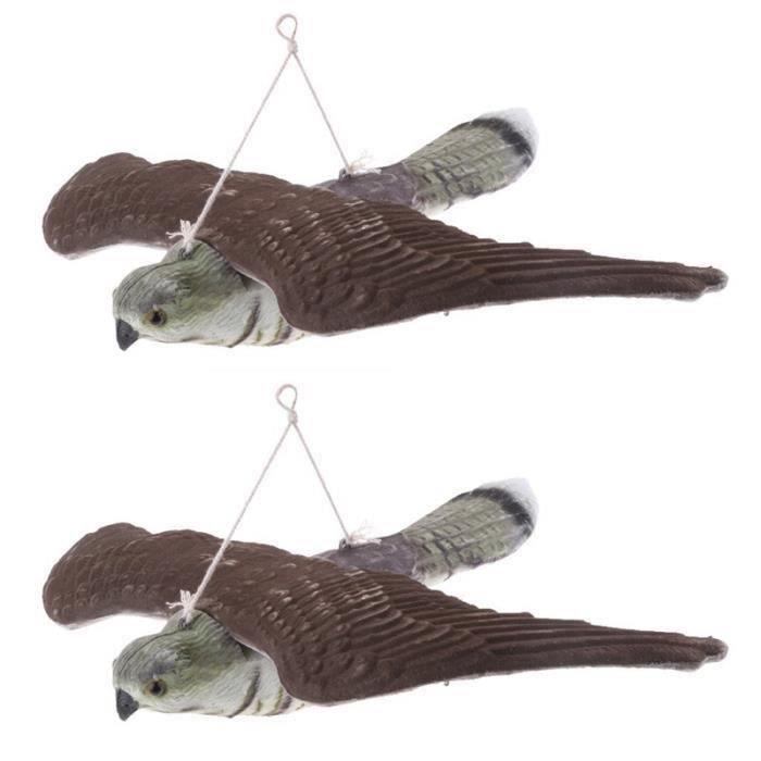 PIÈGE NUISIBLE MAISON YM 2 X Epouvantail Faucon Figurine Leurre Chasse J