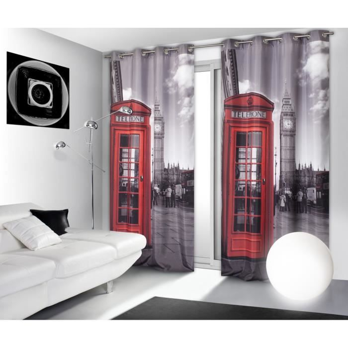 Rideau imprime 140 x 240 cm motif london gris r achat for Decoration porte new york
