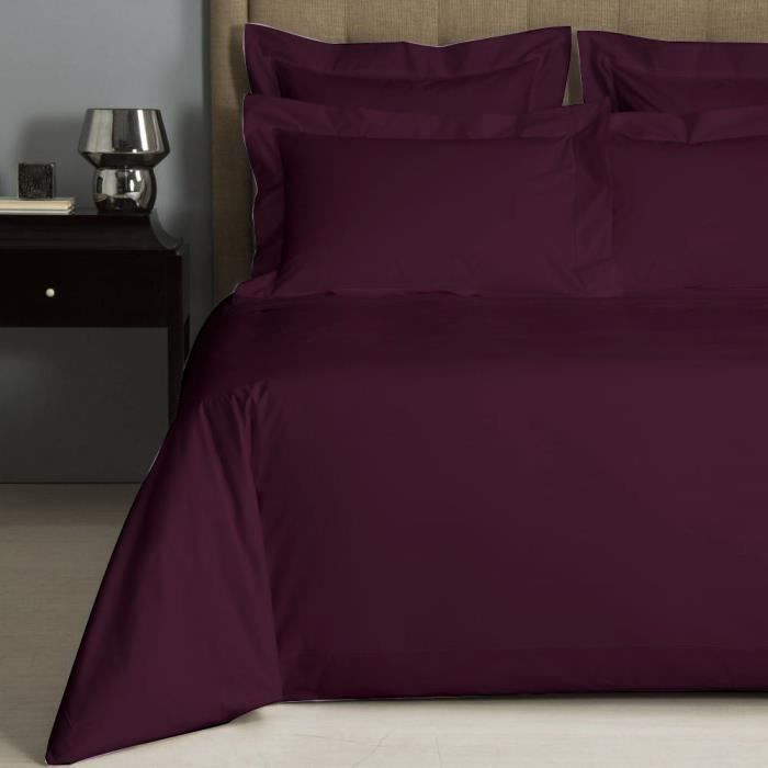 housse de couette uni prune percale de coton salom. Black Bedroom Furniture Sets. Home Design Ideas