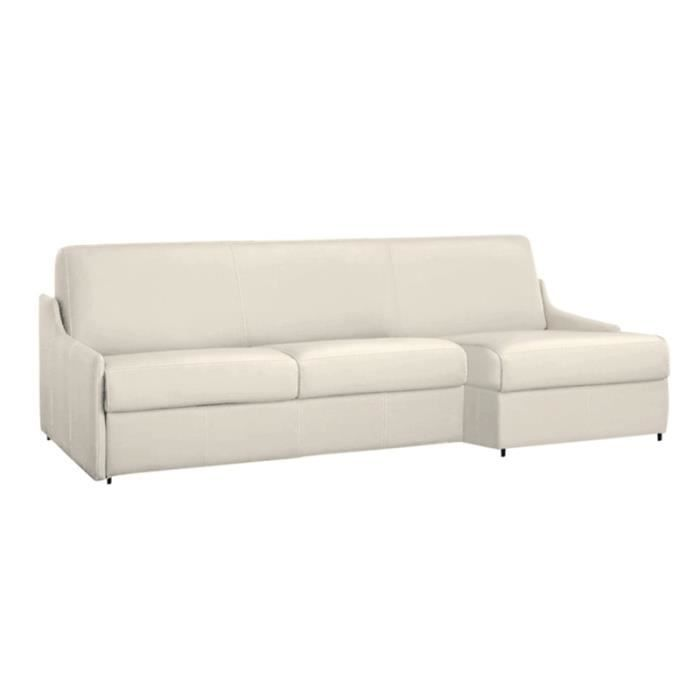 Canap lit d 39 angle luna vrai cuir ecru 140x190 achat for Canape d angle couchage quotidien