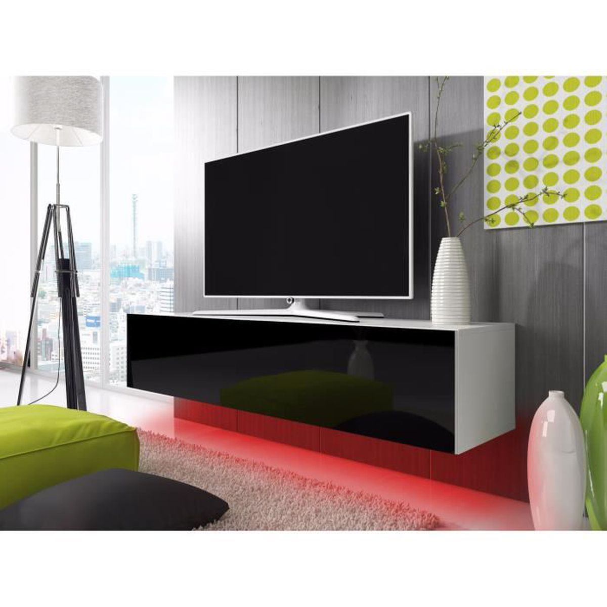 meuble tv lana avec led rouge blanc mat noir brillant 160cm achat vente meuble tv meuble. Black Bedroom Furniture Sets. Home Design Ideas