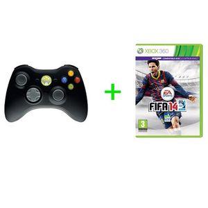 MANETTE JEUX VIDÉO PACK MANETTE SANS FIL NOIR + FIFA 14 / XBOX 360