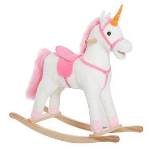 JOUET À BASCULE Cheval à bascule licorne à bascule blanc rose