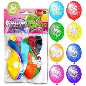 BALLON DÉCORATIF  Ballon vive la retraite (x8)