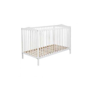 LIT BÉBÉ Lit bébé à barreaux 60x120 en bois blanc LT0003
