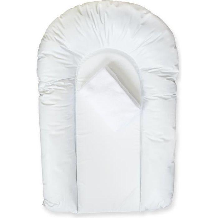 DOMIVA LOT 1 matelas à langer PVC CONFORT forme U + 1 housse éponge bouclette 50x75 cm Blanc