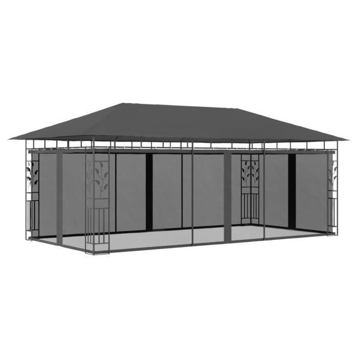Tonnelle de Jardin Barnum - Belvédère avec moustiquaire 6x3x2,73 m Anthracite