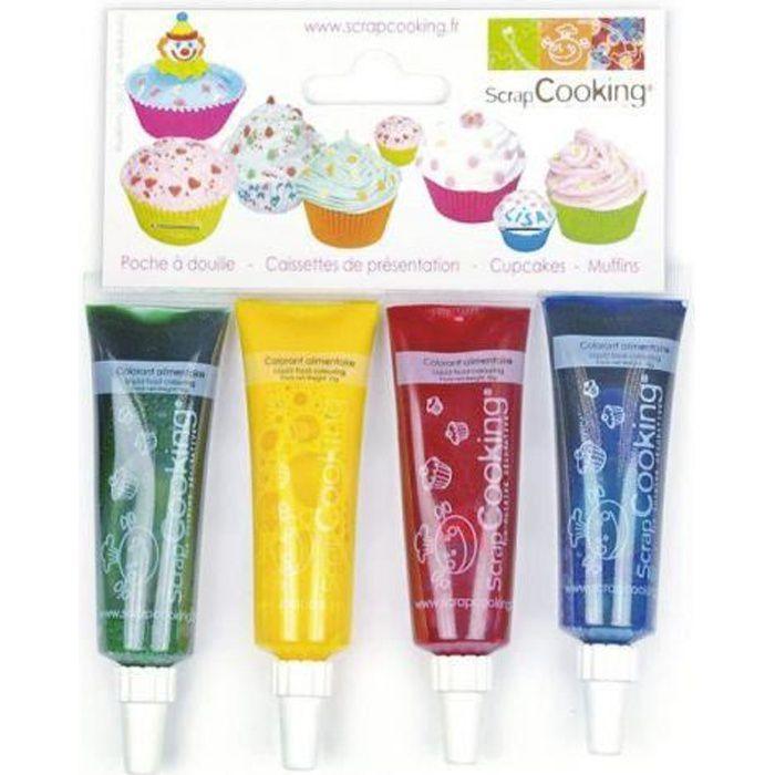 Lot de 4 colorants alimentaires liquides vert-jaune-rouge-bleu pour colorer dans la masse votre pâte à sucre, la crème au beurre et
