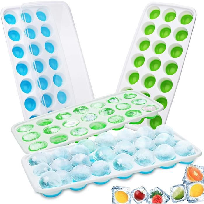 4 PCS Bacs à Glaçons Silicone Bacs à Glaçons avec Couvercles Transparents - 84 Moules à Glaçons pour l'eau, bébés, purée, Whisky,Gla